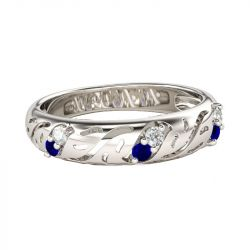 Jeulia Hollow Round Cut Sterling Silver Men's Band