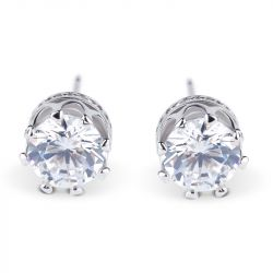 Jeulia  Classic Crown Sterling Silver Stud Earrings