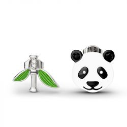 Jeulia Cute Panda Bamboo Mismatched Earrings