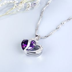 Jeulia Heart Cut Sterling Silver Pendant Necklace