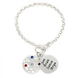 Jeulia Family Tree Engraved Bracelet with Birthstones Sterling Silver