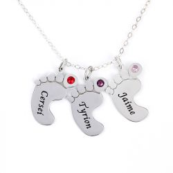 Jeulia Engraved Baby Feet Family Necklace with Birthstones Sterling Silver