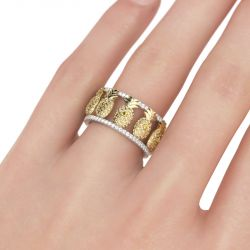 Jeulia Two Tone Pineapple Sterling Silver Women's Band