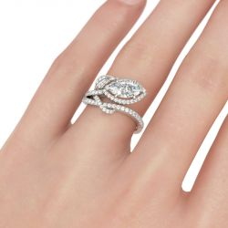 Jeulia Halo Leaves Sterling Silver Ring