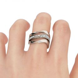 Jeulia Curving Sterling Silver Cocktail Ring