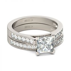 Jeulia Exquisite Princess Cut Sterling Silver Ring Set