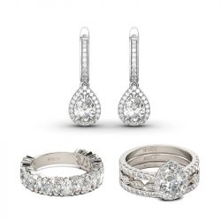Jeulia Classic Pear Cut Sterling Silver Jewelry Set