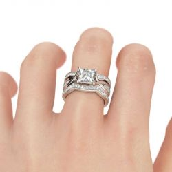 Jeulia Twist Princess Cut Sterling Silver Ring Set