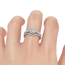Jeulia 3PC Halo Sterling Silver Ring Set