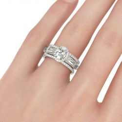 Jeulia  Halo Oval Cut Sterling Silver 3PC Ring Set