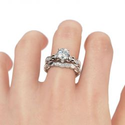 Jeulia Floral Style Round Cut Sterling Silver Ring Set