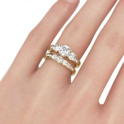 Jeulia  Gold Tone Three Stone Round Cut Sterling Silver Ring Set