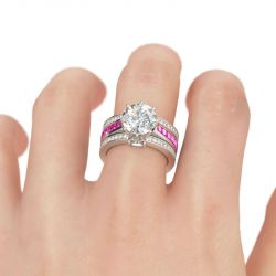 Jeulia 3PC Round Cut Sterling Silver Ring Set