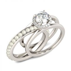 Jeulia Halo Round Cut With Faux Pearl Sterling Silver Ring Set