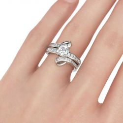 Jeulia  Bypass Round Cut Interchangeable Sterling Silver Ring Set