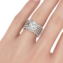 Jeulia Interchangeable Two Tone Halo Round Cut Sterling Silver Ring Set