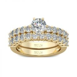 Jeulia Classic Gold Tone Round Cut Sterling Silver Ring Set