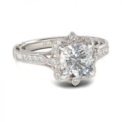 Jeulia Vintage Floral Cushion Cut Sterling Silver Ring