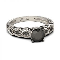Jeulia Vintage Milgrain Round Cut Sterling Silver Ring