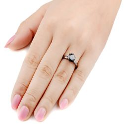 Jeulia Solitaire Black Round Cut Sterling Silver Promise Ring