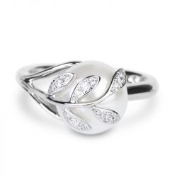 Jeulia Leaf Design Faux Pearl Sterling Silver Ring
