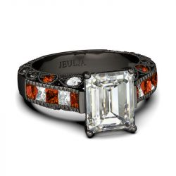 Jeulia Black Tone Emerald Cut Sterling Silver Ring
