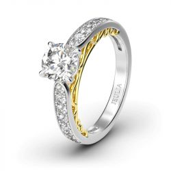 Jeulia Classic Round Cut Sterling Silver Engagement Ring