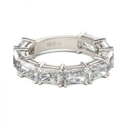 Jeulia Simple Radiant Cut Sterling Silver Women's Band