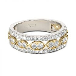 Jeulia  Infinity Round Cut Sterling Silver Women's Band