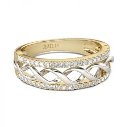 Jeulia Two Tone Twist Round Cut Sterling Silver Women's Band