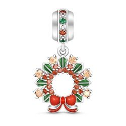 Christmas Wreath Pendant Sterling Silver