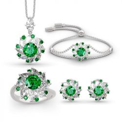 Jeulia Halo Round Cut Sterling Silver Jewelry Set
