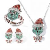 "Jeulia ""Holiday Cheermeister"" Christmas Monster Inspired Sterling Silver Jewelry Set"