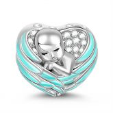 """Sleeping Baby Wrapped in Angel Wings"" Baby Charm Blue Wings Silver for Mothers"