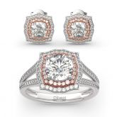 Jeulia Two Tone Halo Round Cut Sterling Silver Jewelry Set