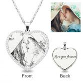Jeulia  Heart Laser Engraved Personalized Photo Necklace With Stones Sterling Silver