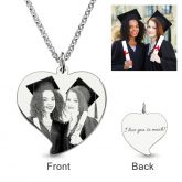 Jeulia  Laser Engraved Heart Personalized Photo Necklace Sterling Silver