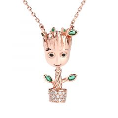 """Jeulia """"I am Groot"""" Tree Man Sterling Silver Dangle Necklace"""