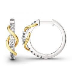 Jeulia Never Apart Sterling Silver Hoop Earrings