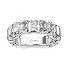 Jeulia Classic Radiant Cut Sterling Silver Women's Band
