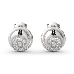 """Jeulia """"Romance in the Moonlight"""" Jack Skellington and Sally Sterling Silver Earrings"""