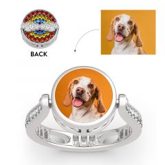 """Jeulia """"Blazing with Colour"""" Sterling Silver Personalized Photo Ring (With A Free Chain)"""