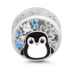 """Winter is Coming"" Penguin Figure Sterling Silver Charm Bead"