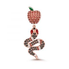 """Forbidden Fruit"" Snake and Apple Pendant Sterling Silver"