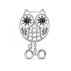 """Snowy Owl"" Owl Charm Sterling Silver Bead"