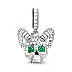 """Love You Till The Sun Dies"" Skull with Horns Charm Sterling Silver Pendant"