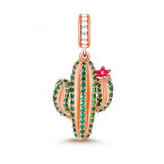 """Unconditional Love"" Cactus Charm Plants Pendant Sterling Silver"