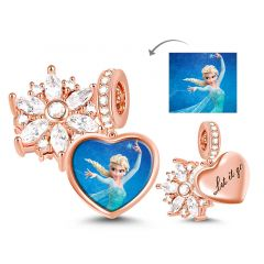 """Let It Go"" Heart Shape Sterling Silver Snowflake Photo Charm Pendant"