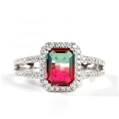 "Jeulia ""One of a Kind"" Emerald Cut Sterling Silver Watermelon Ring"