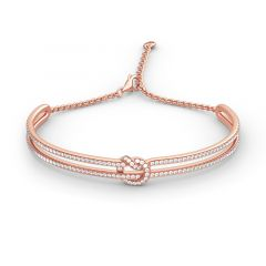 Jeulia Knot Design Sterling Silver Bangle Bracelet